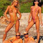 Vier heiße Weiber mit geilen Titten im Bikini